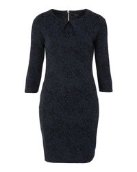 Therapy Blue Brocade Jacquard Dress with Sleeve