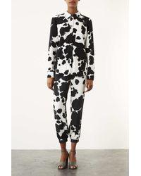 TOPSHOP White Cow Print Shirt