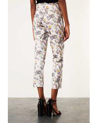 TOPSHOP Multicolor Floral Jacquard Cigarette Trousers