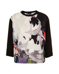 TOPSHOP | White Woven Chiffon Marble Sweat Top | Lyst