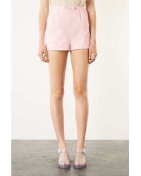 TOPSHOP Pink Bow Front Short