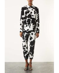 TOPSHOP White Cow Printed Woven Joggers