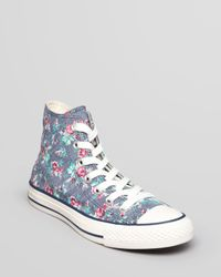 Converse Multicolor Lace Up High Top Sneakers All Star Floral Print