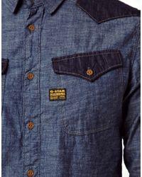 G-Star RAW Blue Shirt Cowboy Borg Denim for men