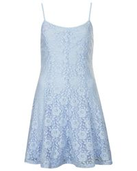 TOPSHOP Blue Strappy Lace Tunic Dress