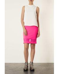 TOPSHOP Pink Mesh Panel Pencil Skirt