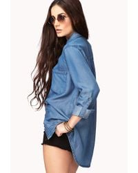 Forever 21   Blue Longline Chambray Shirt   Lyst