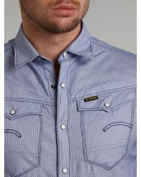 G-Star RAW Blue Stitched Weave Ss Shirt for men