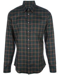 Gucci Green Checked Shirt for men
