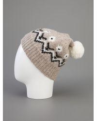 Moncler White Fair Isle Bobble Hat