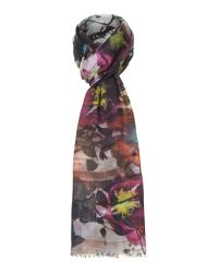 Paul Smith Pink Silhouette Poppy Wool Oblong Scarf