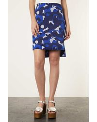 TOPSHOP White Camo Print Stepped Pencil Skirt