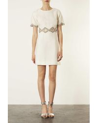 TOPSHOP Natural Limited Edition Cut Out 60s Shift Dress