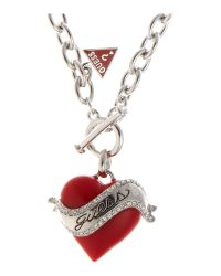 Guess | Juicy Red Heart Necklace | Lyst
