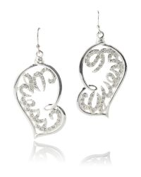 Guess | Metallic Large Open Heart Logo Earring | Lyst