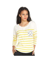 Maison Jules - Yellow Longsleeve Scoopneck Striped - Lyst