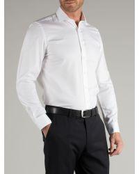 Racing Green - Newgate Plain White Twill Easy Care Shirt for Men - Lyst