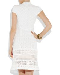 Catherine Malandrino White Pointelle Knitted Stretchjersey Dress