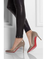 Christian Louboutin Gray Pigalle 85 Patentleather Pumps