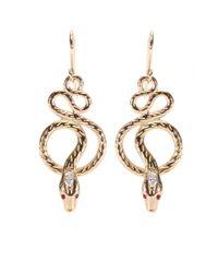 Ileana Makri | Metallic 18kt Rose Gold Snake Tree Earrings with Diamonds and Rubies | Lyst