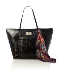 Love Moschino Shiny Croco Black Tote Bag