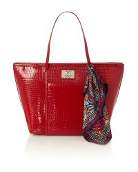 Love Moschino Shiny Croco Red Tote Bag