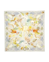 Swash London Multicolor The Cinerous Forest Printed Silk Scarf