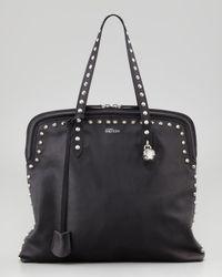Alexander McQueen Skull Padlock Studded Tote Bag Black