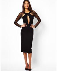 ASOS | Black Lace Panel Cut Out Midi Dress | Lyst