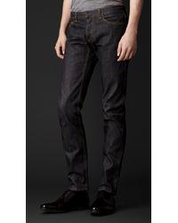 26bb7319b20b Lyst - Burberry Skinny Fit Raw Selvedge Denim Jeans in Blue for Men