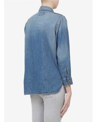 Current/Elliott Blue Stud Collar Denim Shirt