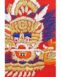 Jason Wu Daphne Embroidered Satin and Metal Box Clutch