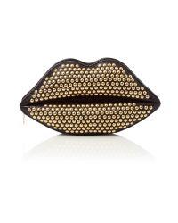 Lulu Guinness Metallic Studded Lips On Sparkle Leather