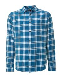 Quiksilver Blue Long Sleeved Colwood Checked Shirt for men