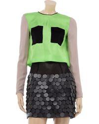 ROKSANDA Green Colorblock Silk-twill Top