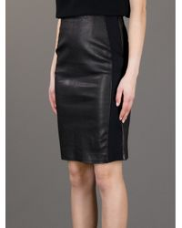 Theory Black Leather Skirt
