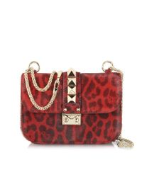 Valentino Red Calfhair Animal Print Shoulder Bag