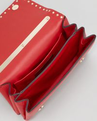 Valentino Red Rock-stud Chain Flap Bag Rouge