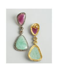 Amrapali - Blue Mint and Raspberry Sapphire Diamond Drop Earrings - Lyst