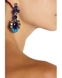 J.Crew Metallic Flower Goldplated Crystal Earrings