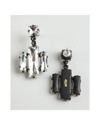 Noir Jewelry - Black Clear Crystal Cluster Drop Earrings - Lyst