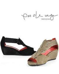 Pas De Rouge - E931 Nori Peep Toe Wedge in Black Suede - Lyst