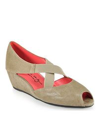 Pas De Rouge | Natural E814 Elasticized Peep Toe Wedge in Taupe Suede | Lyst