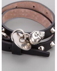 Alexander McQueen - Black Stud and Skull Charm Wrap Bracelet - Lyst