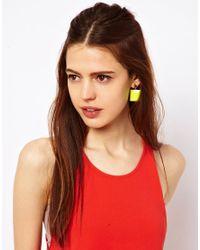 ASOS - Yellow Asos Cool Square Earrings - Lyst