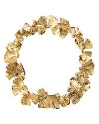 Aurelie Bidermann - Metallic Ginkgo Leaves Necklace - Lyst
