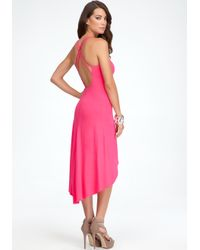Bebe Pink Solid High Low Dress