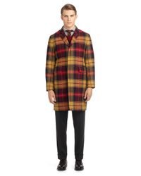 Brooks Brothers - Brown Gold Tartan Chesterfield Coat for Men - Lyst