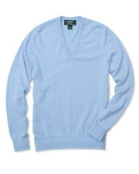 Brooks Brothers Blue Country Club Lightweight Cashmere V-neck Sweater for men
