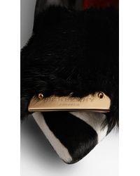 Burberry | Black Mink Detail Kitten Wedges | Lyst